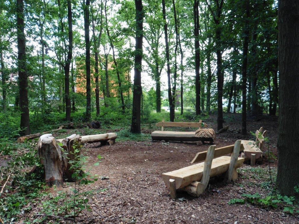 Een wachtkamer in het bos met houten zitbanken